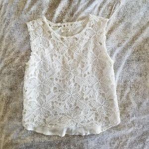 Zara mediumsleeveless floral lace lined crop tank